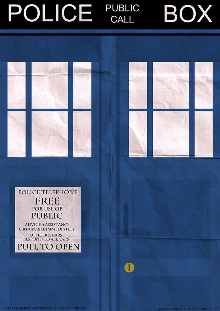 Póster Fan Art de la Tardis de la serie Dr. Who