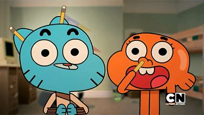 Gumball y Darwin con lapices