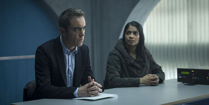 James Nesbitt as DI Harry Clayton and Amara Karan as DS Suri Chohan in Stan Lee's Lucky Man (an original British drama for SKY 1) Photographer: Steffan Hill / © 2015 Carnival Film & Television Ltd
