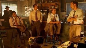 "(L-r) JOSH BROLIN as Sgt. John O'Mara, ROBERT PATRICK as Officer Max Kennard, ANTHONY MACKIE as Officer Coleman Harris, MICHAEL PEÑA as Officer Navidad Ramirez, RYAN GOSLING as Sgt. Jerry Wooters and GIOVANNI RIBISI as Officer Conwell Keeler in Warner Bros. Pictures' and Village Roadshow Pictures' drama ""GANGSTER SQUAD,"" a Warner Bros. Pictures release."