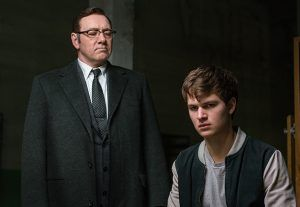 Baby (ANSEL ELGORT) has a tense moment with Doc (KEVIN SPACEY) as he insists he do the driving on the next job in TriStar Pictures' BABY DRIVER.